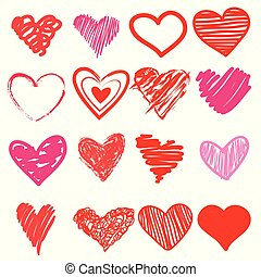 Red heart hand drawn. Icon cute, cartoon doodle love