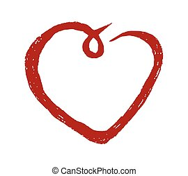 Red heart hand drawn vector icon