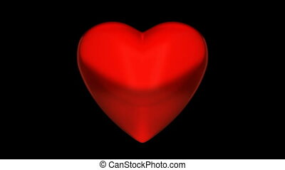 Red heart - Heart is pulsing on black, alpha mask is...
