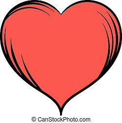 Red heart icon cartoon