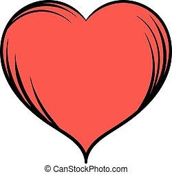 Red heart icon cartoon