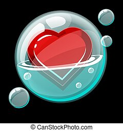 Red heart icon in a big soap bubble.