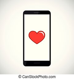 red heart icon in black smartphone