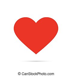 Red heart icon in flat style. Isolated on a white background.