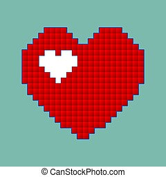 Red heart icon in pixel style. Isolated love sign