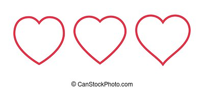 Red heart Icon isolated on white background. Set of love symbol for web site logo, mobile app UI design