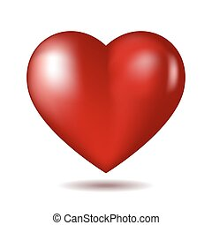 Red heart icon isolated on white