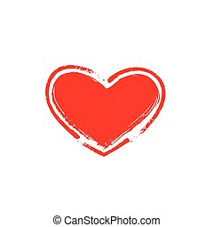 Red heart icon. Vector illustration on white background