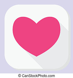 Red heart icon with long shadow. Modern simple flat feelings shape sign. Internet concept. Trendy love symbol for website, web button, mobile app.