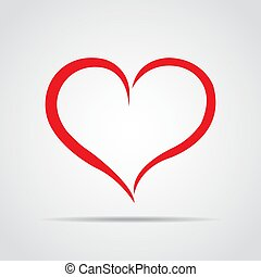 Red heart icon with shadow on a gray background