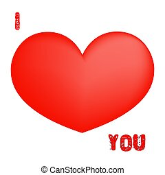 Red heart illustration i love you