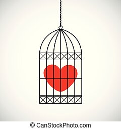 red heart in a bird cage
