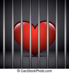 red heart in a jail on dark background