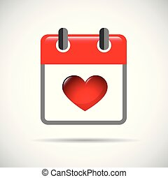 red heart in a red calendar