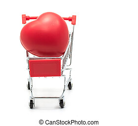 red heart in a shopping cart on a white background