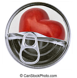 Red heart in aluminum can isolated on white background.