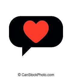 Red heart in black speech bubble