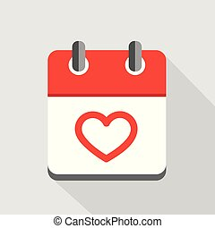 red heart in calendar icon valentines day symbol