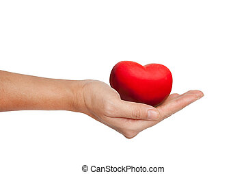 Red Heart in female hand isolated on white
