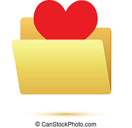 Red heart in folder icon