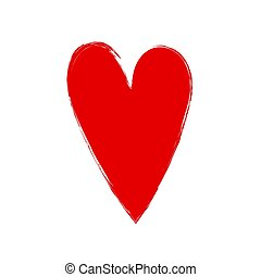 Red heart in grunge style isolated on white background