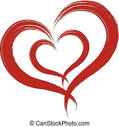 Red heart in grunge style