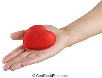 red heart in hand, a symbol of love and health