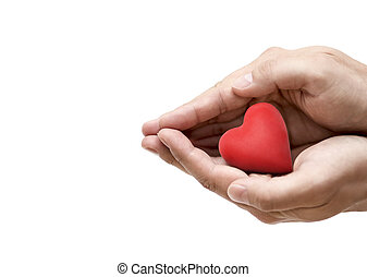 Red heart in hands. Health insurance or love concept