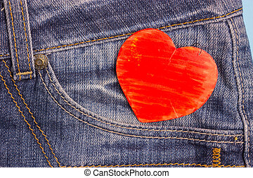 Red Heart in Jeans Pocket