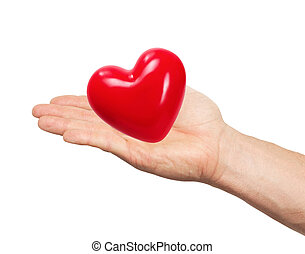 red heart in man hand isolated on white