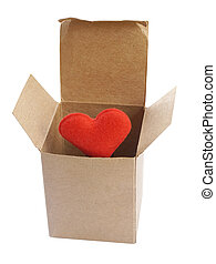 Red Heart in paper box isolate on white background (with clipping path)