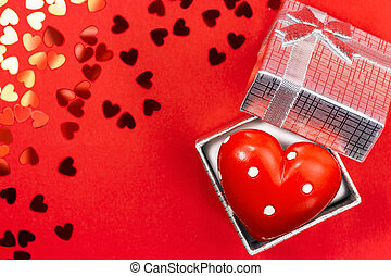 Red heart in silver box