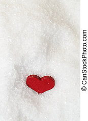 Red Heart in Snow From Above