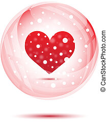 Red heart in snow globe