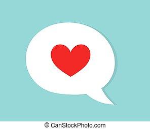 Red heart in speech bubble flat design. Love concept.