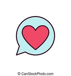 Red Heart in Speech Bubble vector icon. Love Message symbol