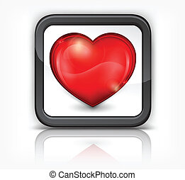 Red heart in square button