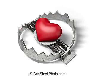 Red heart in the bear metal trap