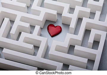 Red Heart In The Centre Of Labyrinth