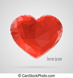 Red heart in the style of triangulation on a white background