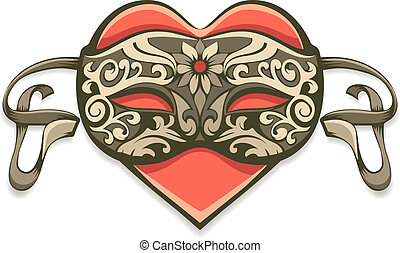 red heart in vintage decorative mask