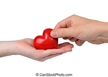 Red heart in woman and man hands
