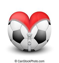 Red heart inside soccer ball