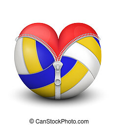 Red heart inside volleyball ball. Symbol of love for the...