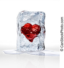 Red heart into an ice brick, over a white surface with some water pool.