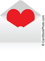 Red heart into envelope
