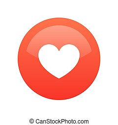 Red Heart Like icon isolated on white - Vector Round button illustration of Heart for Social network