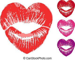 red heart lips, vector set