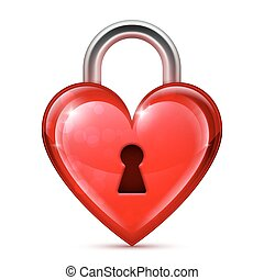 Shiny red heart lock on white background