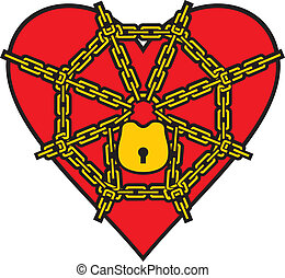 red heart locked with chain